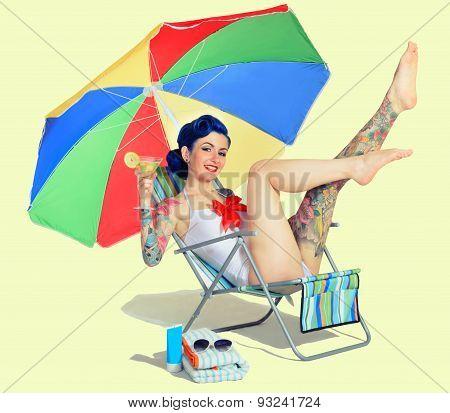 Girl resting on the beach having fun
