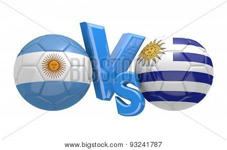 Football competition, national teams Argentina vs Uruguay