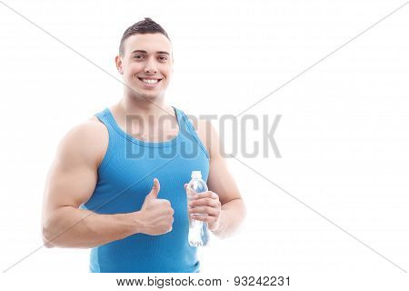 Handsome sportsman isolated on white