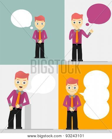 Set of young businessmen with speech bubbles. Talking, thinking concept. Flat vector design illustration