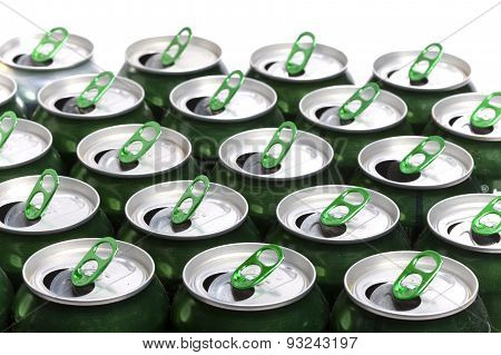Aluminum beer cans .