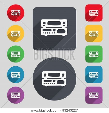 Radio, Receiver, Amplifier Icon Sign. A Set Of 12 Colored Buttons And A Long Shadow. Flat Design. Ve