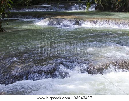 Jamaica. Dunn's River waterfalls. Landscape in a sunny day
