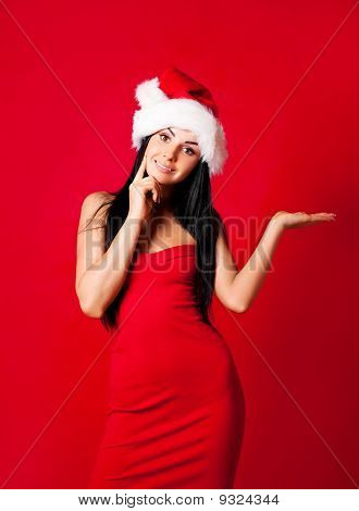 Girl Wearing A Santa's Hat