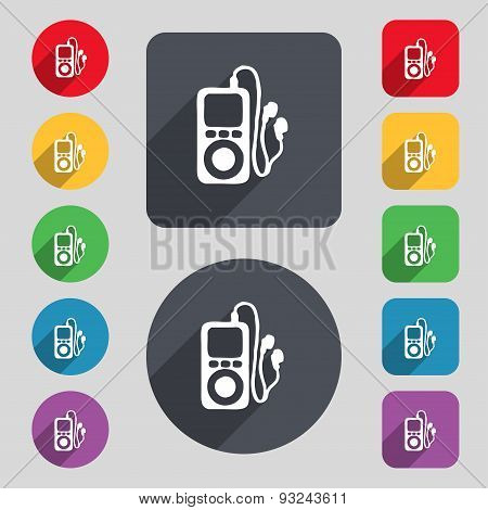 Mp3 Player, Headphones, Music Icon Sign. A Set Of 12 Colored Buttons And A Long Shadow. Flat Design.
