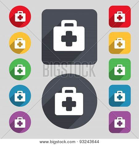 First Aid Kit Icon Sign. A Set Of 12 Colored Buttons And A Long Shadow. Flat Design. Vector