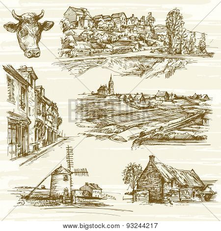 rural France landscape - hand drawn set
