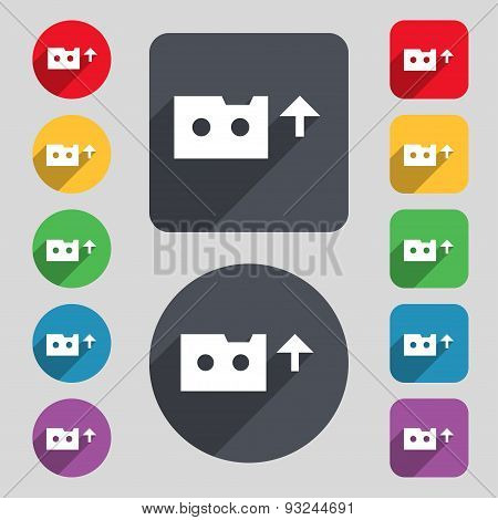 Audio Cassette Icon Sign. A Set Of 12 Colored Buttons And A Long Shadow. Flat Design. Vector