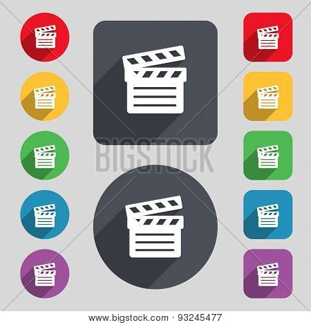 Cinema Clapper Icon Sign. A Set Of 12 Colored Buttons And A Long Shadow. Flat Design. Vector