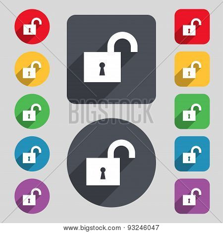 Open Lock Icon Sign. A Set Of 12 Colored Buttons And A Long Shadow. Flat Design. Vector