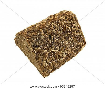 Triangle slice of healthy bread with a variety of seeds