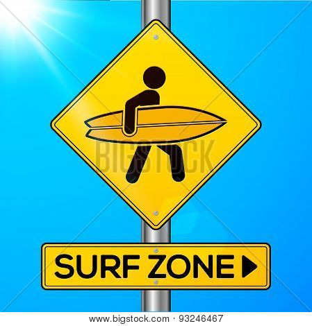 Surf zone yellow road sign on sky background