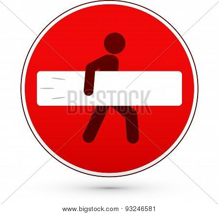 Red stop road sign with surfer man
