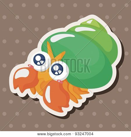 Sea Animal Hermit Crab Cartoon Theme Elements