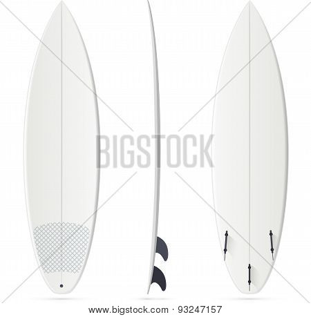 White vector surfing board template - shortboard