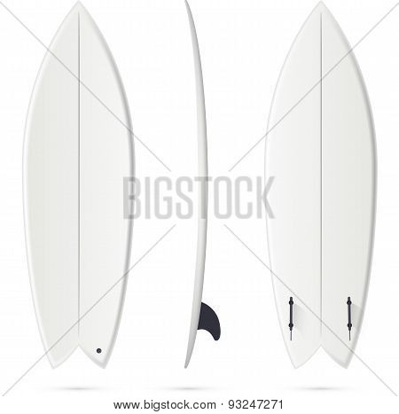 White vector surfing board template - fish surfboard