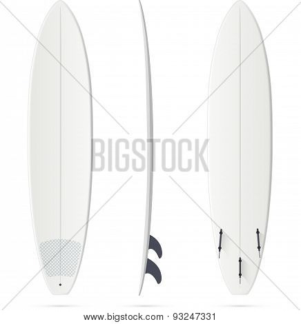 White surfing board template - mini-malibu surfboard