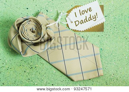 The Idea For Father's Day Greetings: A Tie And A Label