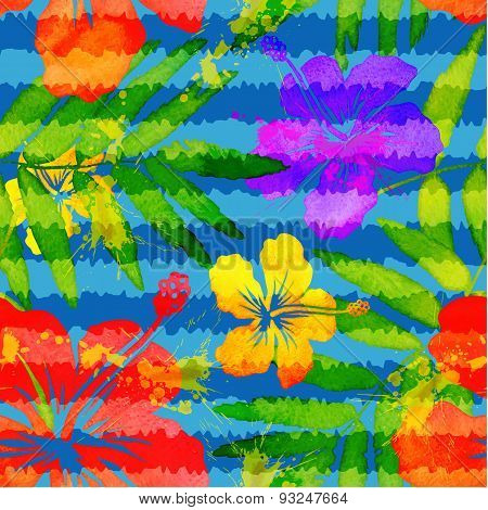 Bright vivid colors watercolor tropical flowers seamless pattern with grunge stripes