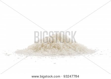 Coconut Flakes On White Background