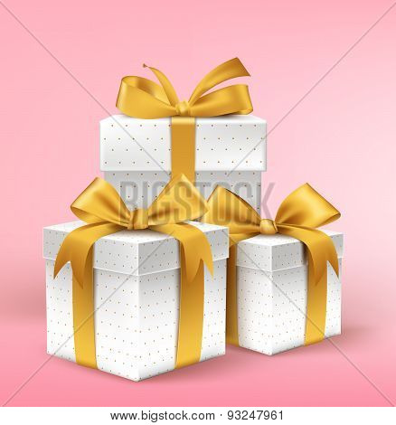 Realistic 3D White Gifts with Colorful Gold Ribbons Wrap