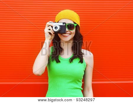 Fashion, Summer And People Concept - Pretty Cool Girl In Sunglasses With Retro Camera Having Fun Aga