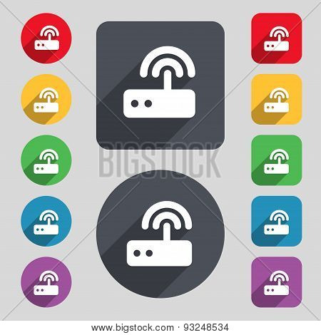 Wi Fi Router Icon Sign. A Set Of 12 Colored Buttons And A Long Shadow. Flat Design. Vector