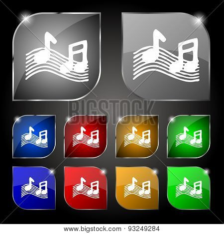 Musical Note, Music, Ringtone Icon Sign. Set Of Ten Colorful Buttons With Glare. Vector