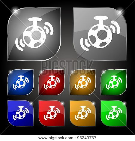 Mirror Ball Disco Icon Sign. Set Of Ten Colorful Buttons With Glare. Vector