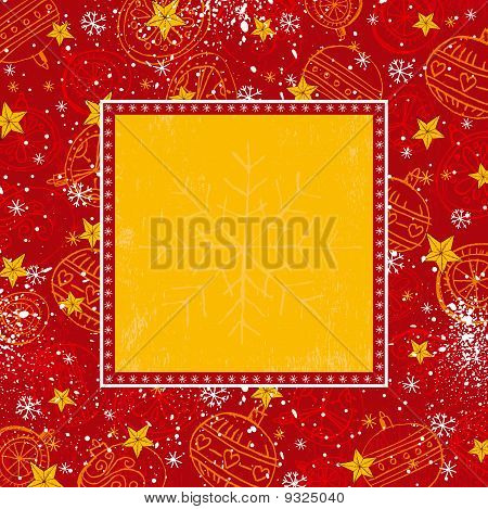 Red Christmas Background With Christmas Balls , Vector