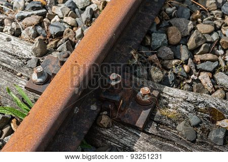 Rusty Train Tracks From Close