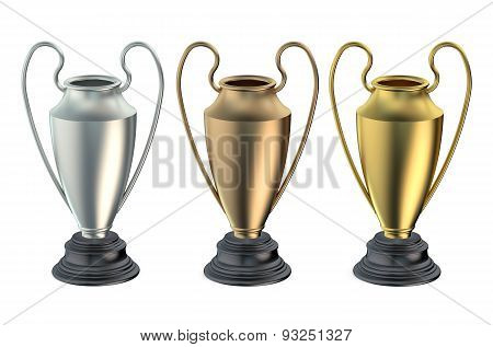 Cups Or Trophies Gold, Silver, Bronze