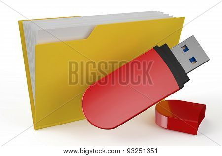 Folder Icon With Usb Flash Drive