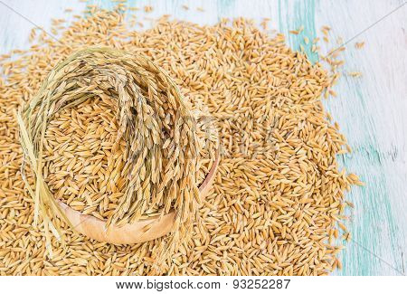 Paddy Rice Seed In A Wooden Bowl