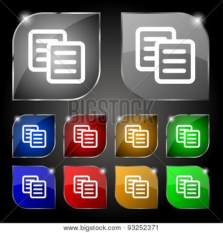 Copy Icon Sign. Set Of Ten Colorful Buttons With Glare. Vector