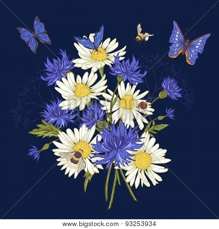Greeting Card with Blooming Chamomile