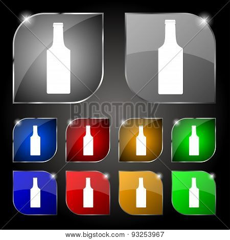 Bottle Icon Sign. Set Of Ten Colorful Buttons With Glare. Vector