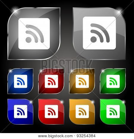 Rss Feed  Icon Sign. Set Of Ten Colorful Buttons With Glare. Vector