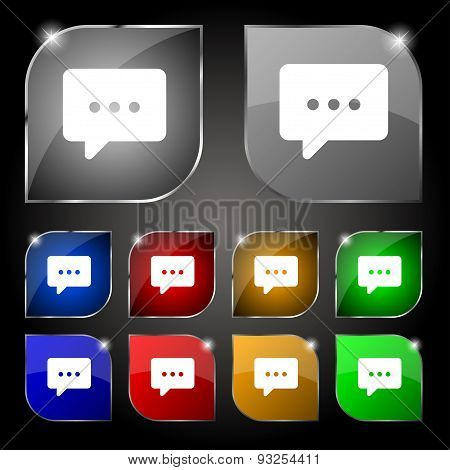 Cloud Of Thoughts Icon Sign. Set Of Ten Colorful Buttons With Glare. Vector