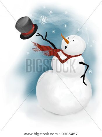 Snowman On Windy Day
