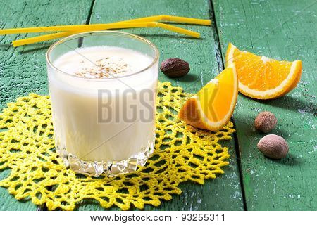 The Cold Milkshake With Orange Juice, Ice Cream And Nutmeg