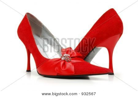 Red Woman Shoes Isolated On White Background