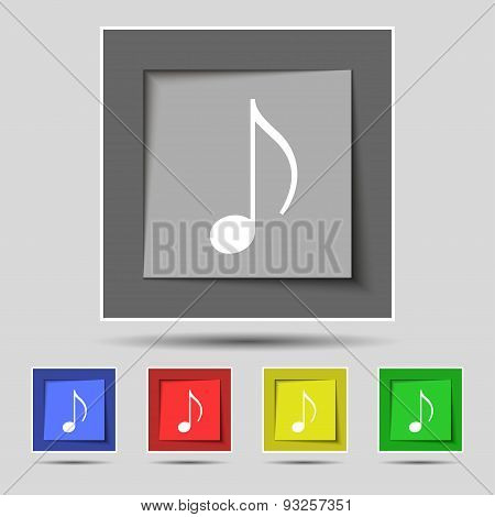 Musical Note, Music, Ringtone Icon Sign On Original Five Colored Buttons. Vector