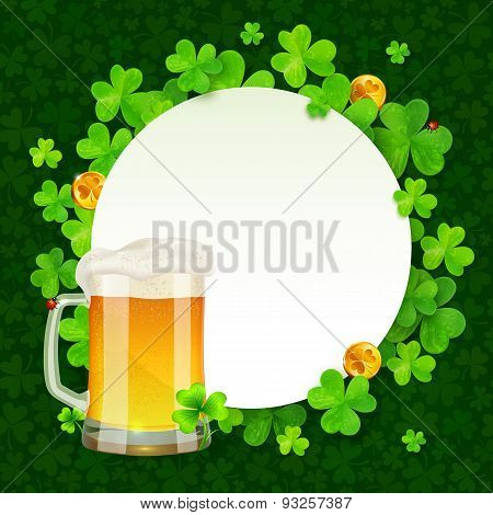 Mug of light beer on green clovers round background, St. Patricks Day illustration