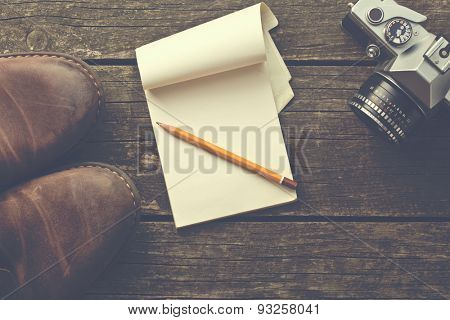the vintage notepad and pencil