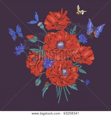Summer Vintage Floral Bouquet. Greeting Card with Blooming Red Poppies