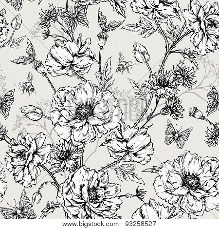 Summer Monochrome Vintage Floral Seamless Pattern with Blooming Poppies