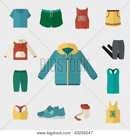 Sport clothing icons set.