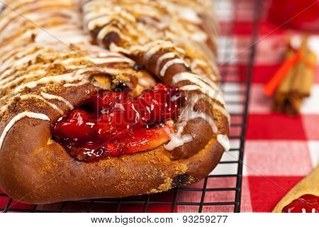 Cherry puff pastry with custard