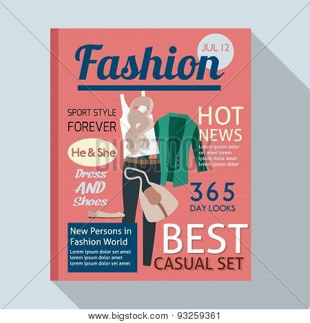 Fashion magazine with casual clothing.